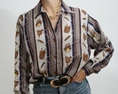 Vintage 90's Shirt Blouse Blue Marine and Marron // Retro Style