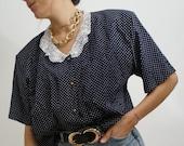 Vintage 90's Shirt Blouse BLUE Marine Polka dots// RETRO STYLE