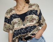 Vintage 90's Shirt Blouse Jungle with shirt // Retro Style