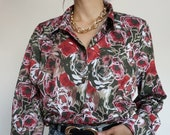 Vintage 90's Shirt Blouse Flowers RETRO style and Chic