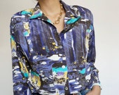 Vintage 90's Shirt Blouse Violet and Turquoise Tones with Pads Retro Style