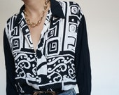 Vintage 90's Shirt Blouse Black & White Abstract Geometrics