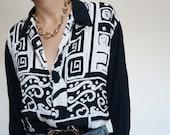 Vintage 90's Shirt Blouse Black & White Abstract Geometrics