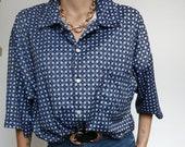 Vintage 90's Shirt Blouse Blue Pijama style //  RETRO STYLE
