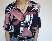 Vintage 90's Shirt Blouse Blue Lavande abstract and plants