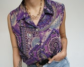 Vintage 90's Shirt Blouse Boho Chic Purple // Retro Style