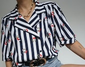 Vintage 90's Shirt Blouse Blue Marine Navy // Retro Style