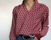 Vintage 90's Shirt Blouse Burgundy  Abstract RETRO style and Chic