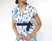 Vintage 90's Summer Dress Retro Light Blue // Parisian style