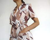 Vintage 80's Dress Browns Abstract Retro Old Style // RETRO STYLE