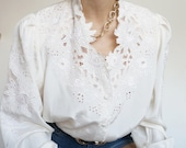 Vintage 90's Shirt Blouse White Old English Style and Chic
