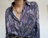 Vintage 90's Shirt Blouse Blueberry Browns Retro Old Style