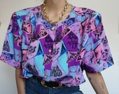 Vintage 90's Shirt Blouse Abstract with PADS // Retro Style