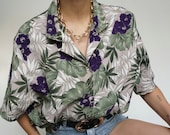 Vintage 90's Shirt Blouse Purple and Green Plants // Retro Style