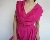 Vintage 80's Dress Pink  Retro Old Style for Summer Spring