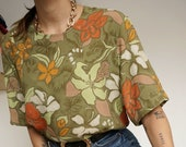 Vintage 90's Shirt Blouse Orange and Green Plants // Retro Style