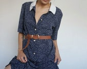 Vintage 90's Dress Blue with dots Retro Old Style // Parisian Style