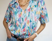 Vintage 90's Shirt pastel color palette Blouse Rainbow style Abstract