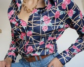 Vintage 90's Blouse Shirt with Roses Pink and Blue tones stylized Retro Chic Style