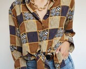 Vintage 90's blouse brown tones and cubes mode // Retro style