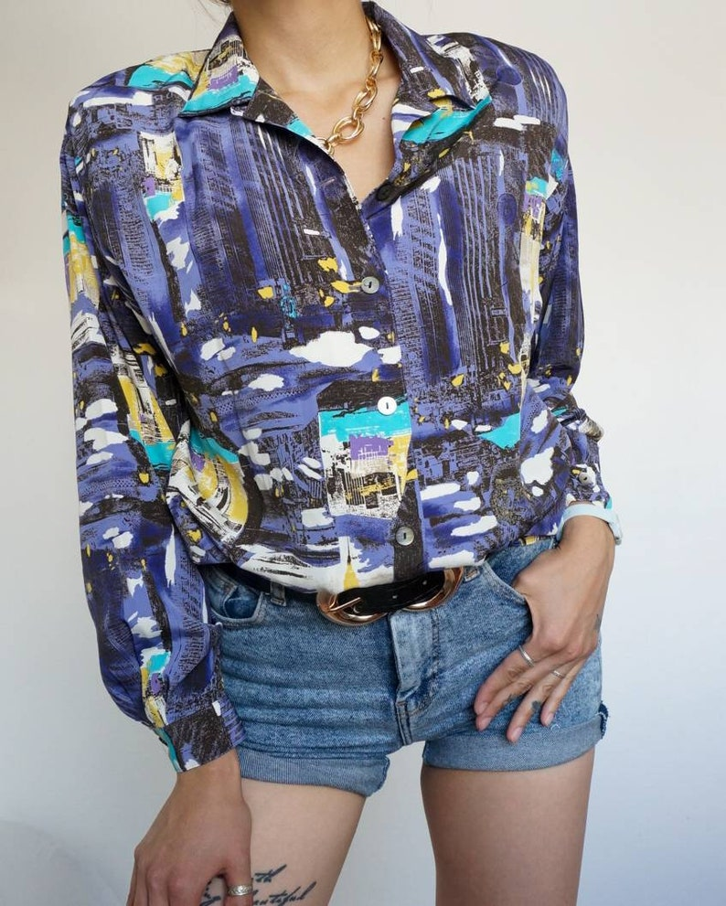 Vintage 90's Shirt Blouse Violet and Turquoise Tones with image 0