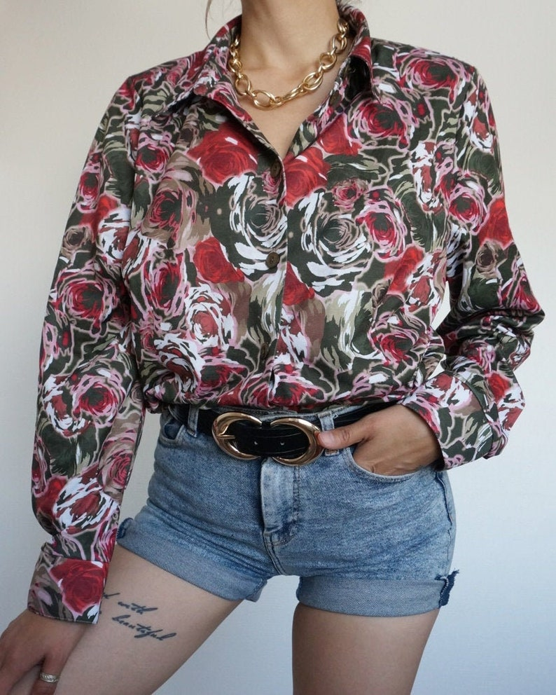 Vintage 90's Shirt Blouse Flowers RETRO style and Chic image 0