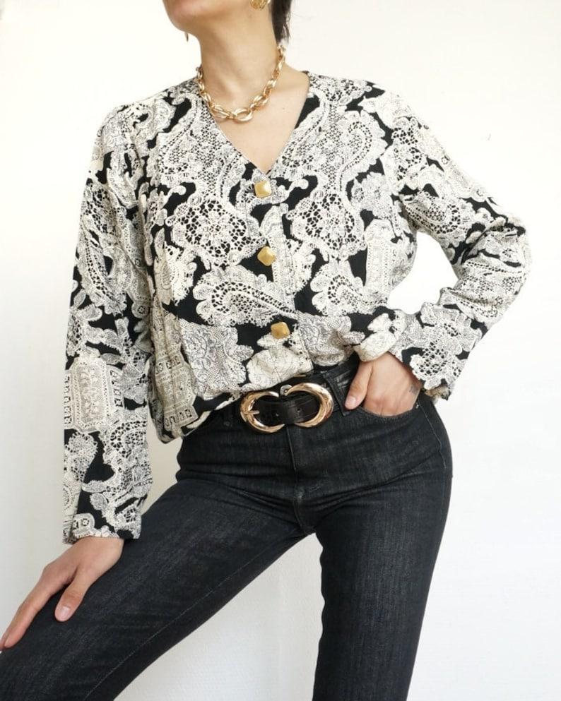 Vintage 90's Shirt Blouse  White and Black Ornaments // image 0