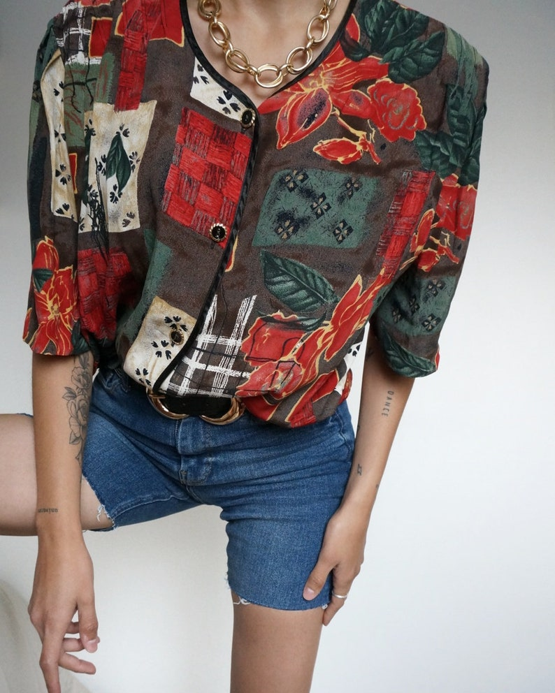 Vintage 90's Shirt Blouse or Blazer Red  // RETRO STYLE image 0