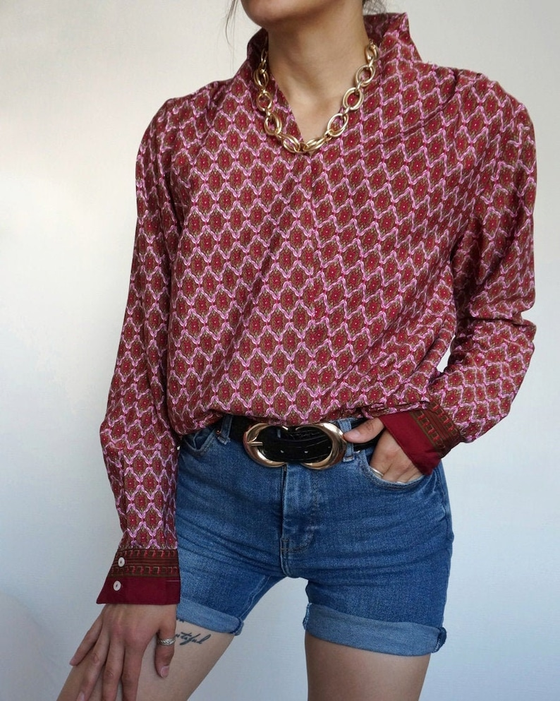 Vintage 90's Shirt Blouse Burgundy  Abstract RETRO style image 0