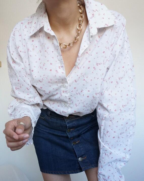 Vintage Retro Shirt Blouse with Liberty Prints Whi
