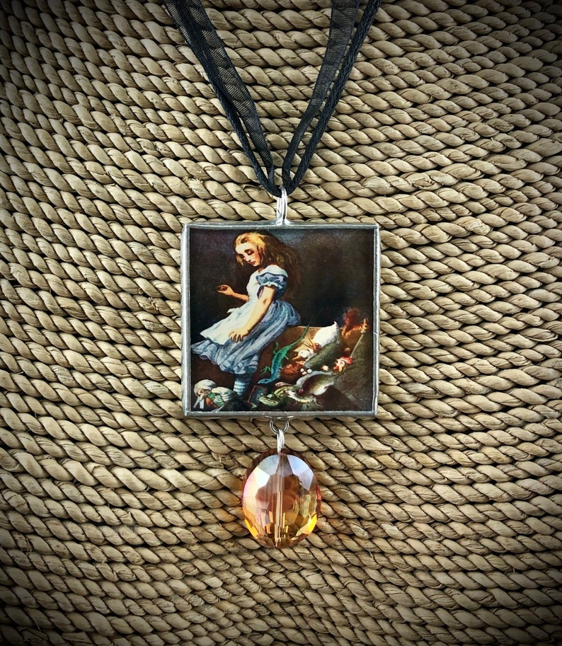 Necklace Pendant Alice in Wonderland Soldered Pendant Down the Rabbit Hole Soldered Jewelry Jewelry Solder Pendant Reversible Pendant