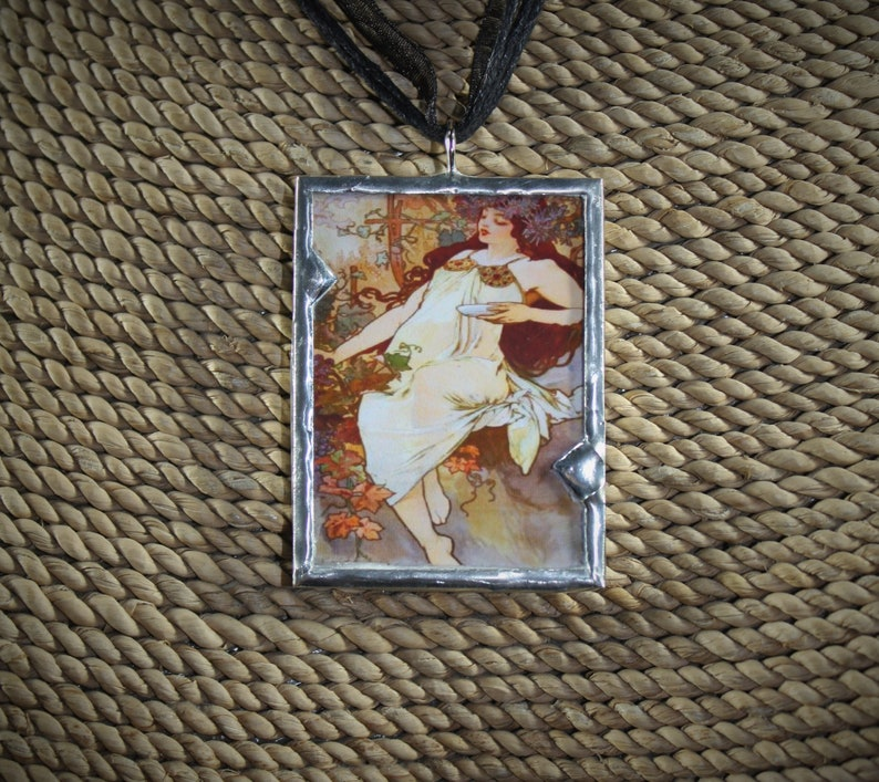 Gift for Her Art Nouveau Jewelry Necklace Soldered Jewelry Reversible Pendant Vintage Fall Pendant Alphonse Mucha Soldered Pendant
