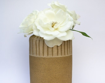 Glazed Unglazed Sgraffito Slipware Stoneware Ceramic Flower Vase