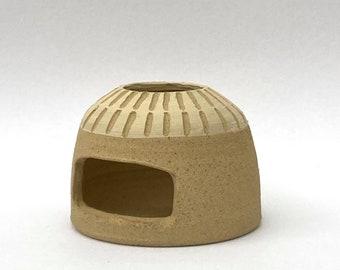 Stoneware Unglazed Sgraffito Slipware Tealight Holder Candle Pottery Ceramic 2