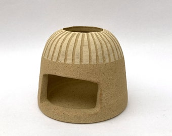 Stoneware Unglazed Sgraffito Slipware Tealight Holder Candle Pottery Ceramic 1