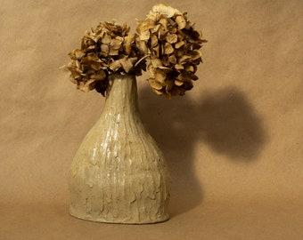 Glazed Coil Hand Built Stoneware Ceramic Flower Vase