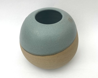 Duck Egg Blue Dip Glazed Unglazed Stoneware Ceramic Round Globe Moon Jar Vase