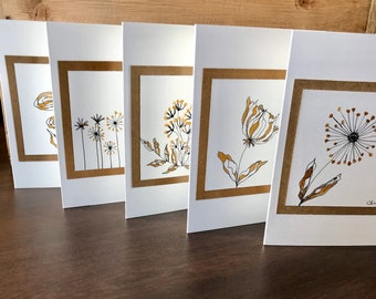 Inked Floral Greeting Cards- Set of 5 in pack.