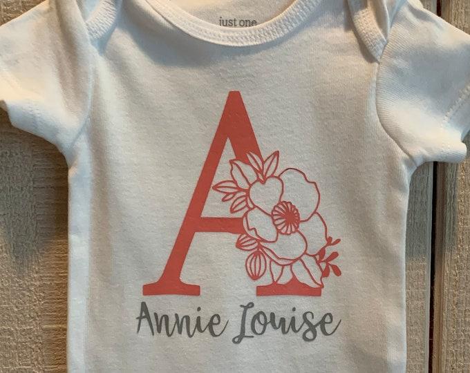 Custom Floral Initial Baby Girl Onesie