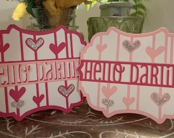 "Custom ""Hello Darling"" Handmade Greeting Card"