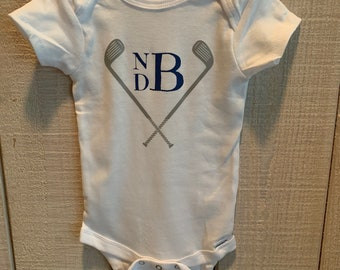 Custom Golf Club Baby Onesie with Initials