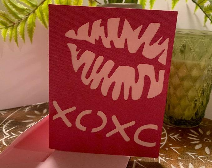 "Customizable ""XOXO"" Handmade Greeting Card"