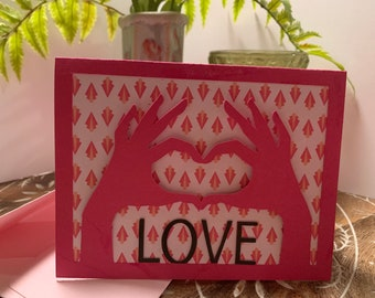 "Customizable ""Love"" Handmade Greeting Card"