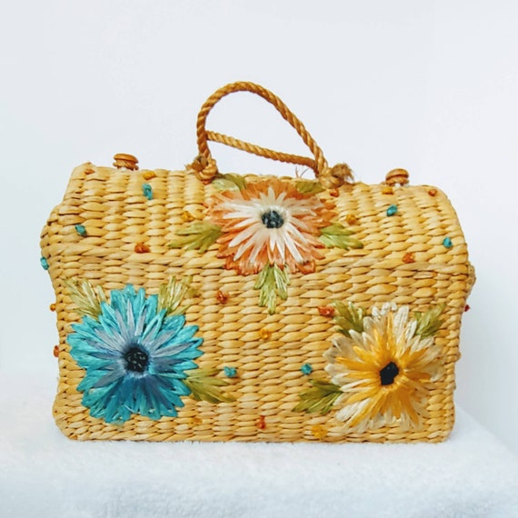 Market Bag, Beach Carry, Tote - 1960s Woven Water