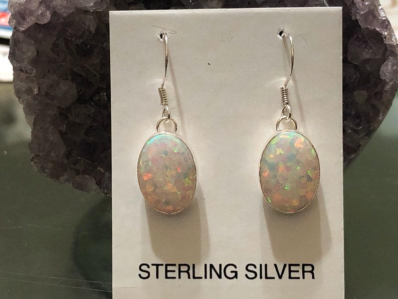 Medium oval white opal earrings dangle earrings southwestern jewelry .925 sterling silver opal earrings opal jewelry