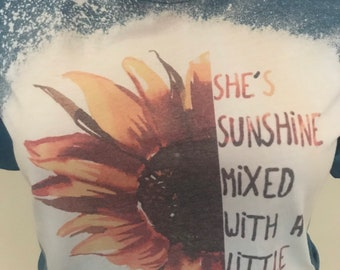 Bleached Tee She/'s Sunshine with a mix of HURRICANE