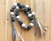 Farmhouse garland in black, grey and white. 29 long