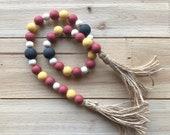 Harry Potter Gryffindor Garland, Halloween bead garland, fall beaded garland, farmhouse wood bead garland