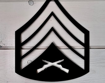 Sergeant USMC Rank Insignia Embroidered Patch SGT E-5 W// VELCRO® Brand Fastener