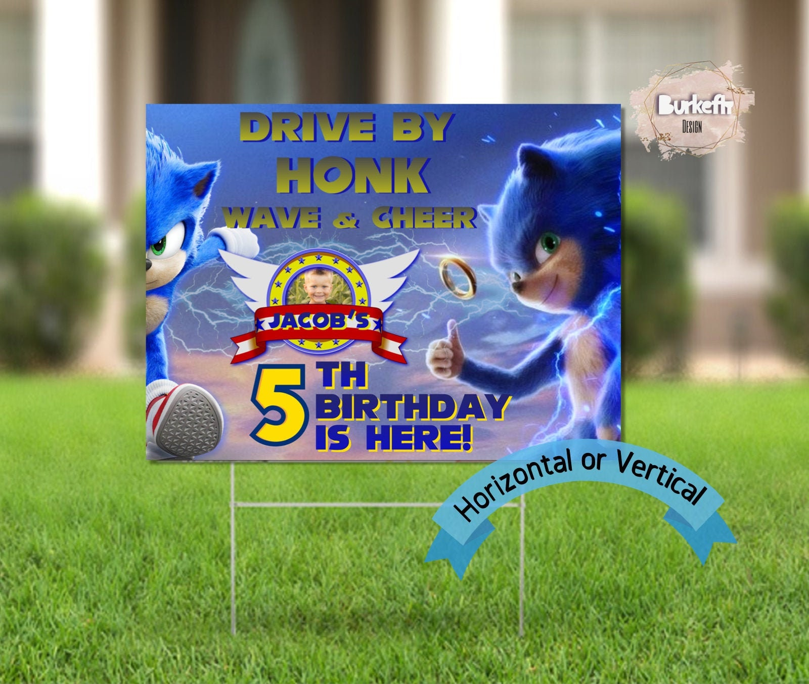 Printable Sonic The Hedgehog Drive By Parade With Photo Yard Sign Social Distancing Drive By Birthday Party Birthday Parade Quarantine